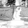 1960 - Snow statue outside of Mark and Helen Osterlin Library